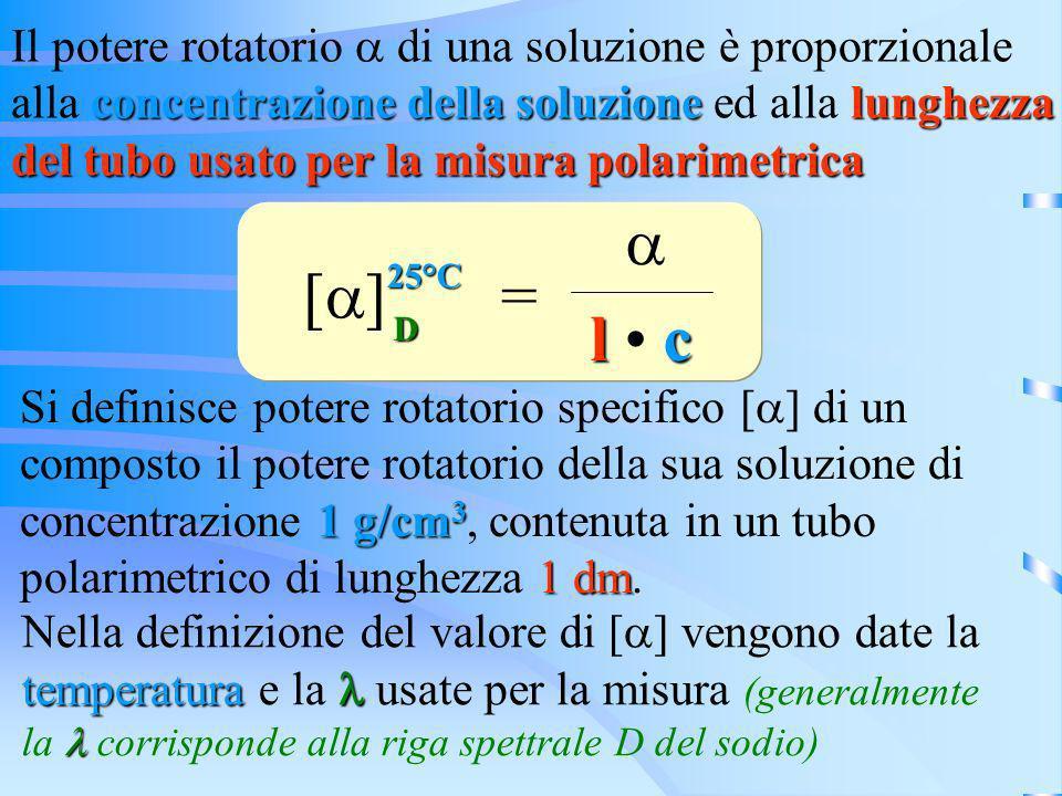 a [a] = l • c Il potere rotatorio a di una soluzione è proporzionale